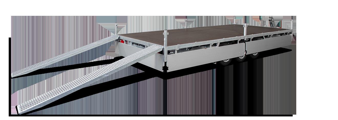 Hulco Medax tridem plateauwagen met rijplaten